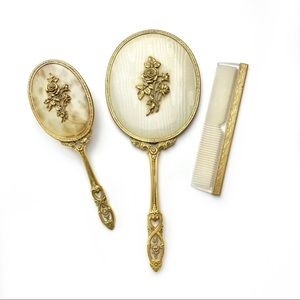 Vintage Hair Brush Comb & Mirror Vanity Set of 3